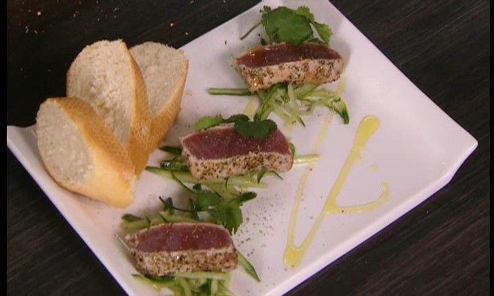 Tataki van tonijn met zoetzure komkommer | VTM Koken
