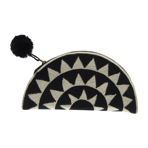 Black Half Moon with Black Pom Pom. Wayuu clutch. $120
