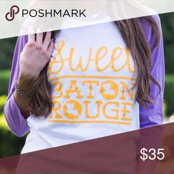 Sweet Baton Rouge purple Boutique shirt Support your Tigers, show your love for Louisiana, and look incredibly beautiful in this super soft 3/4 sleeve shirt.  The Original Sweet Baton Rouge™. Perfect for an LSU game, football, baseball, soccer, gymnastics, track, field, softball, student, college life, local, traveler, visitor. Poly/ Cotton Unisex Violet/White Tops Tees - Short Sleeve