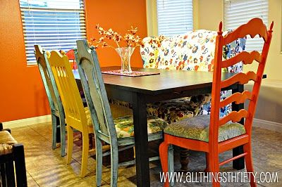 Another miss matched dining table and chairs with an upholstered double wing back chair.  All Things Thrifty Home Accessories and Decor: SYTYCD Week Two