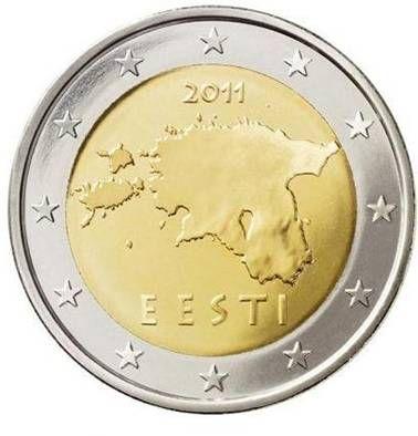 ESTONIA 2 Euro: Mappa dell'Estonia con l'anno di conio al di sopra di essa e la scritta EESTI (Estonia) al di sotto. Intorno 12 stelle a cinque punte rappresentanti l'Unione Europea. Autore: Lembit Lõhmus.