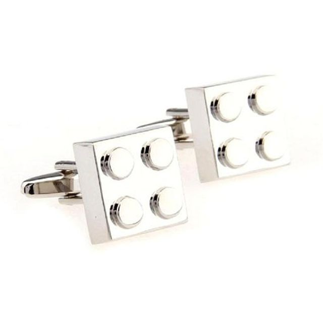 Cufflink Set - Building Block Cufflinks - Silver Colour | JIBZ Online