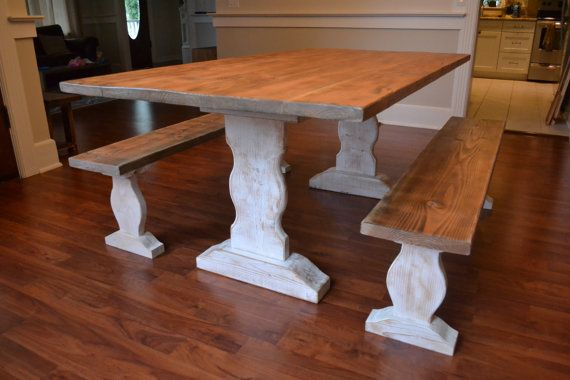 Farm Table, Reclaimed Wood Dining Table, Dining Table and Benches, Furniture, Kitchen Table, White Wash Table, Free Shipping, Ready to Ship