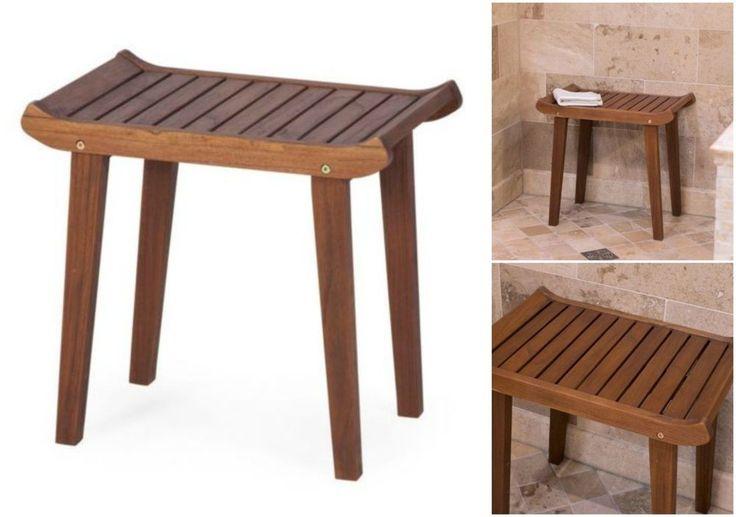 Curved Shower Bench Teak Wood Bath Seat Stool Bathroom Tub Sauna Chair Footstool #BelhamLiving