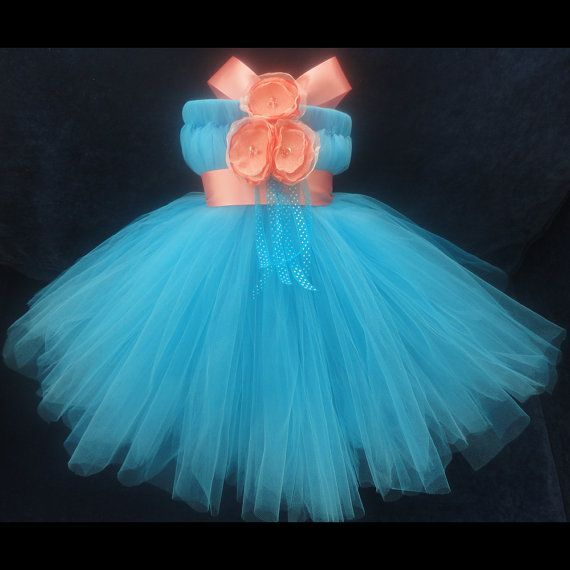 LOVE this dress for the flower girl :) Coral Turquoise Flower Girl Dress by StrawberrieRose on Etsy, $79.95