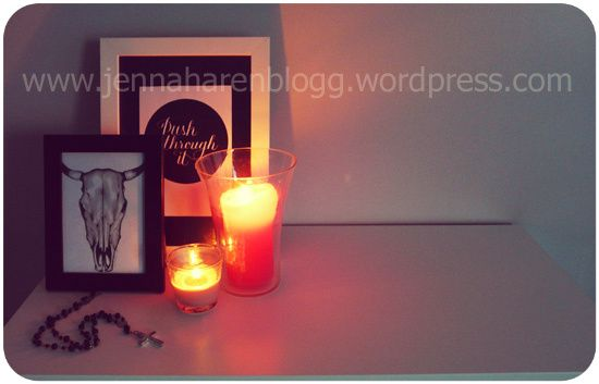 candles, picture frames, interior decor