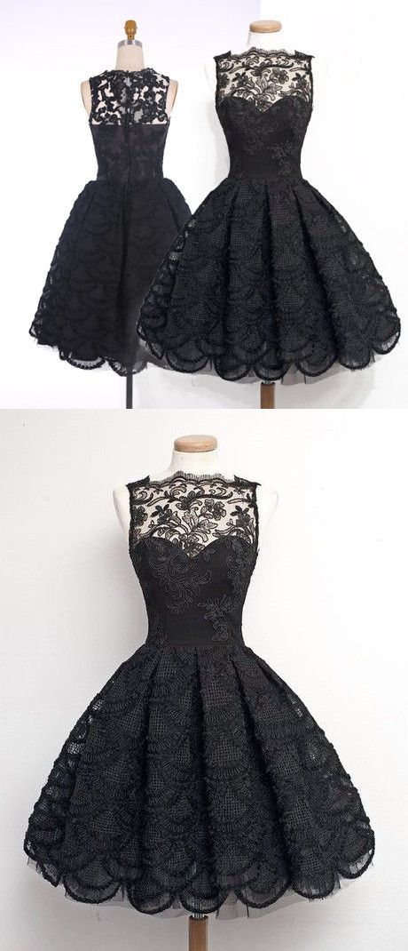 2016 homecoming dress, black lace homecoming dress, vintage homecoming dress… Women, Men and Kids Outfit Ideas on our website at 7ootd.com #ootd #7ootd