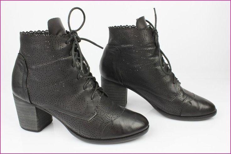 Bottines Boots à Lacets VANESSA Cuir Synthétique Noir T 40 TBE