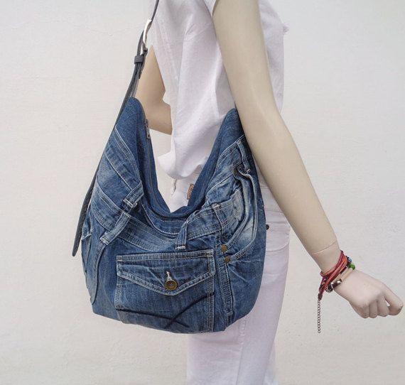 Monedero de mezclilla bolso slouchy hobo cruz cuerpo por BukiBuki