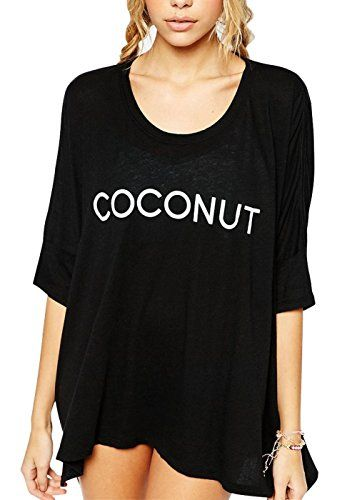 """Women's Coconut Printed Baggy Oversized T-shirt Beach Swimwear Bikini Cover Ups (Above US 8, Black-coconut). Material: Mercerized Cotton,soft ,comfortable and lightweight.(Many welcome for the review with pictrue and size suggestion.). Front is shorter than back,and wouldn't recommend for someone hight than 5'8"""". A bit shear if use as a top needs something under it. Cozy and lazy for lounge around on vacation in summer,nice cover up and soft sleep shirts. Baggy and oversized style,suggestion…"""