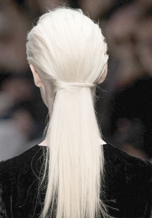 """I really like how the hair is crisscrossed to secure the """"ponytail"""". Would love that worked into some of the looks. Could also see this as a look itself adding volume down the middle of the head giving a """"faux hawk"""" effect."""