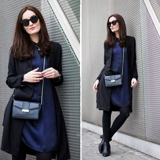 Shirt Dress, Milly Bag, Reiss Boots, Jacket, Céline Sunglasses