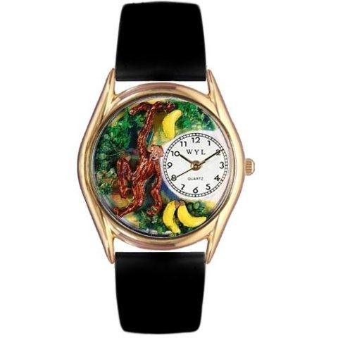 Whimsical Womens Monkey Black Leather Watch