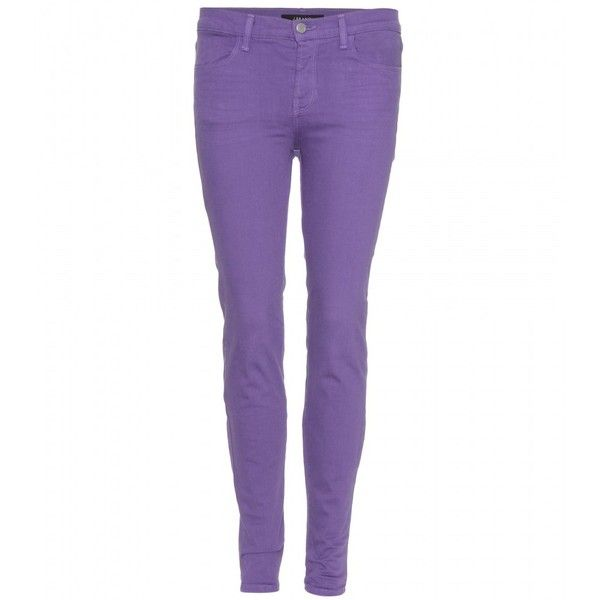 J Brand 620 Mid-Rise Super Skinny Jeans ($120) ❤ liked on Polyvore featuring jeans, pants, bottoms, pantalones, purple skinny jeans, cut skinny jeans, mid-rise jeans, skinny fit denim jeans and mid rise skinny jeans