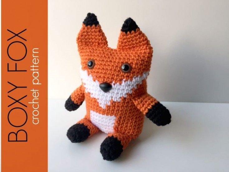 This crocheted Boxy Fox Amigurumi is made with a rectangular base which gives it the boxy shape. The arms, legs and tail are crocheted into the body so they are very securely attached. Project Note:The arms, legs, tail and ears are all crocheted amigurumi style, meaning you do not join after each round, just continue spiraling up.