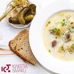 Polish pickled cucumber soup with chicken gizzards.  Yes, please!!   Zupa ogórkowa z kiszonych ogórków - Przepis