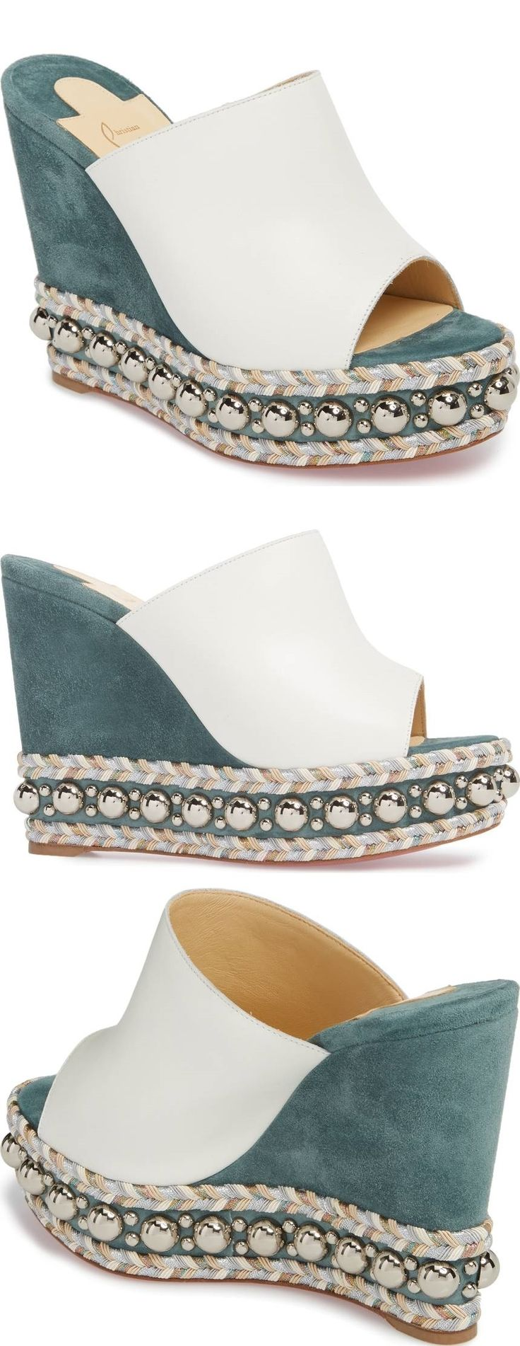 Shining studs and braided trim wrap the platform sole of a chic 'Janibasse' wedge mule paneled in rich leather and suede.