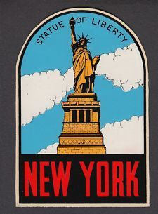 statue of liberty 1950's   Vintage Travel Decal Luggage Sticker 1950's Statue of Liberty New York