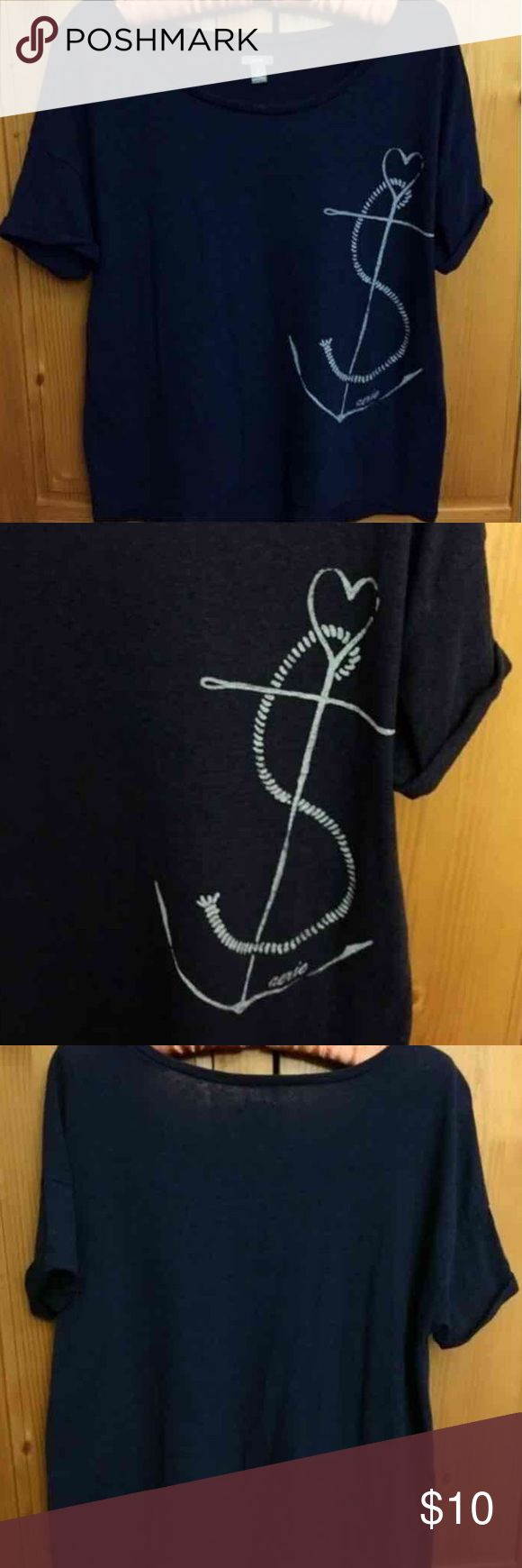 Aerie navy nautical flowy crop tee This navy blue tee has a cute white anchor, rope and heart graphic. It has short rolled sleeves, a loose flowy fit and is longer in the back. It is slightly sheer. Cotton/poly blend. Size small. Was worn once or twice and is in like new condition.  Purchased online from Aerie / American Eagle.  Very cute nautical print graphic summer tee. aerie Tops Tees - Short Sleeve
