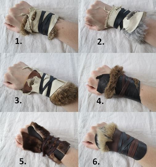 Armor gloves bracer 1 Tribal Leather Fur Cuff Viking Barbarian von FolkOfTheWood