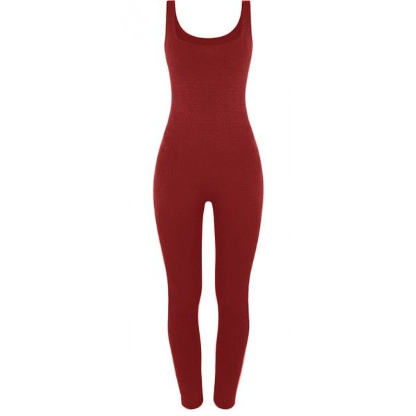 BASIC LONG LEG JUMPSUIT ❤ liked on Polyvore featuring jumpsuits, long jumpsuit, red jump suit, fitted jumpsuits, jump suit and red jumpsuit