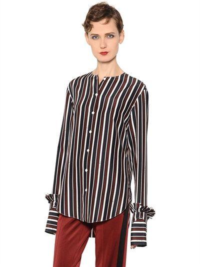 NINA RICCI Striped Silk Shirt, Brown/Blue. #ninaricci #cloth #shirts