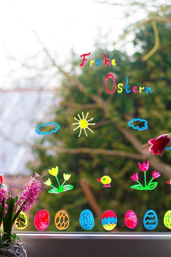 Geniale Fensterdeko für Ostern mit Kindern basteln – Basteln