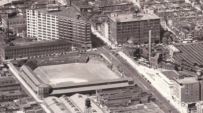 Baker Bowl, former Phillies home, from the air. Opened 1895. First cantilevered upper deck in MLB. Torn down 1950.