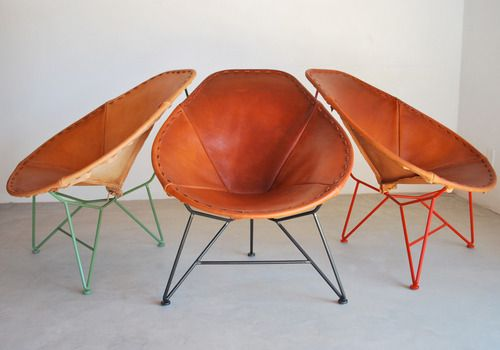 Oval saddle leather chair by Garza Furniture