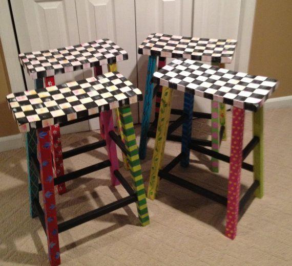 """Hand Painted Whimsical 24"""" Saddle Seat Bar Stool. $145.00, via Etsy."""