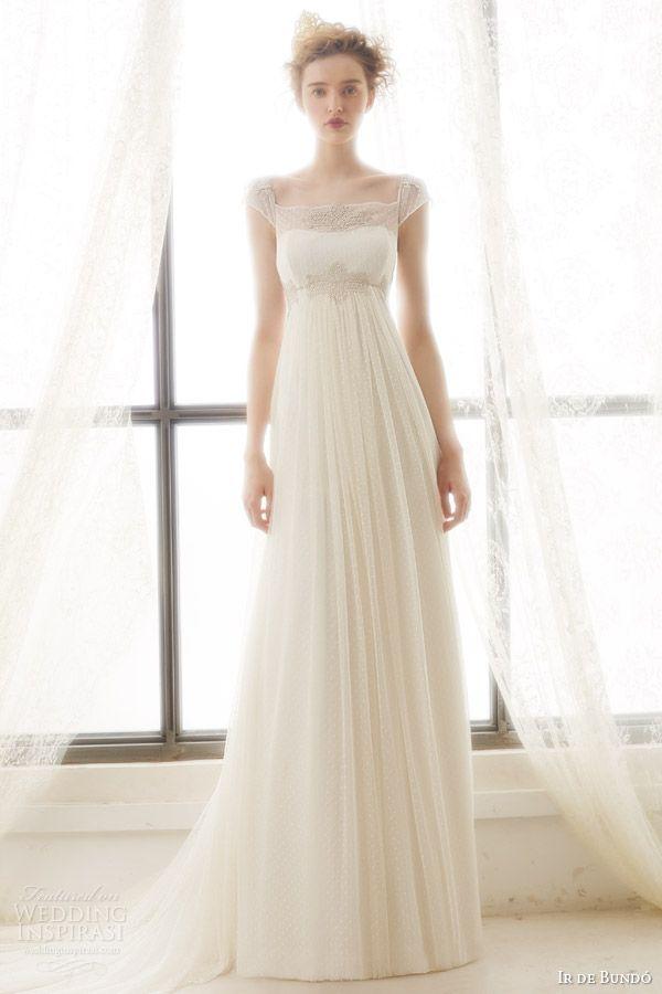 ir de bundo bridal 2015 liz illusion cap sleeve wedding dress empire waist drape a line skirt