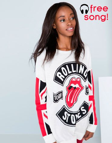 Rolling Stones jumper!! Look for the QR code on the tag to download the song! #BershkaDancingTo #music #rock #rollingstones