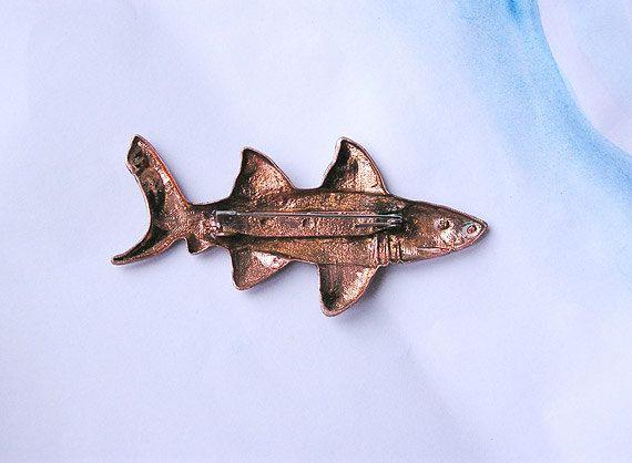 Brooch Big Shark copper handmade nautical by AbraKadabraJewelry