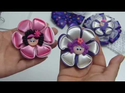 DIY Kanzashi flor, How to make kanzashi hair bow, Ribbon flower tutorial - YouTube