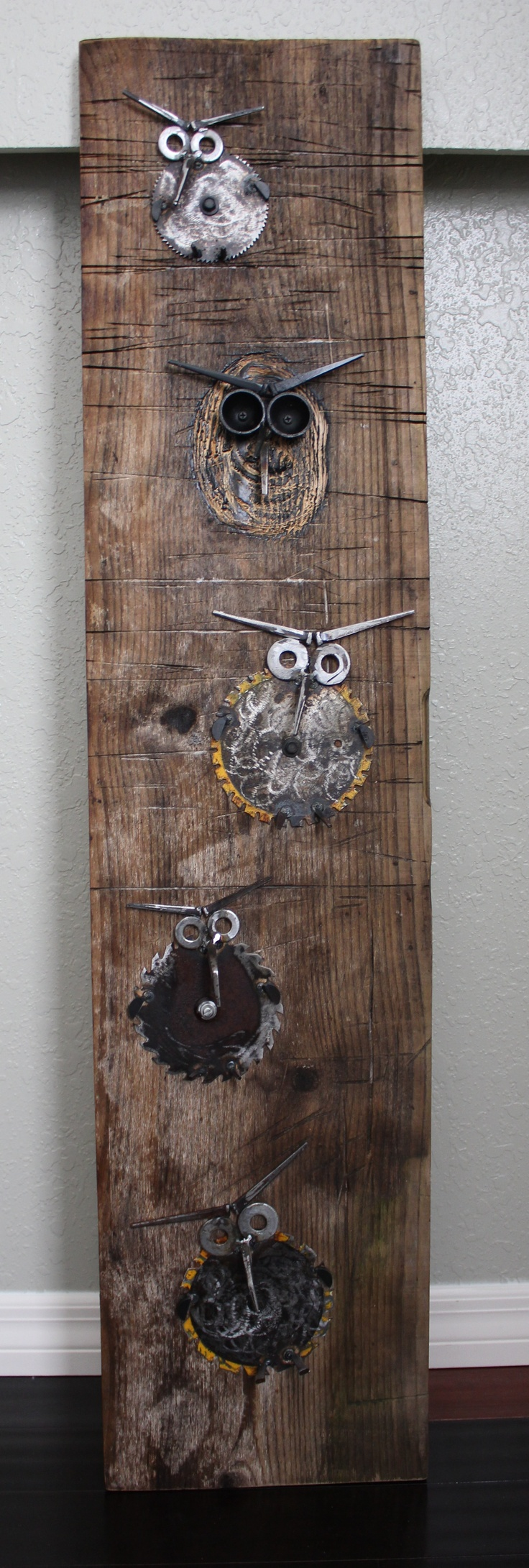 Old piece of distressed wood with family of 5 owls!