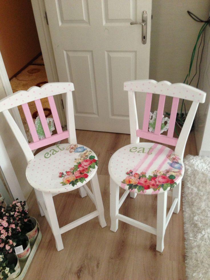 Painted & decoupaged chairs ~ Sandalye