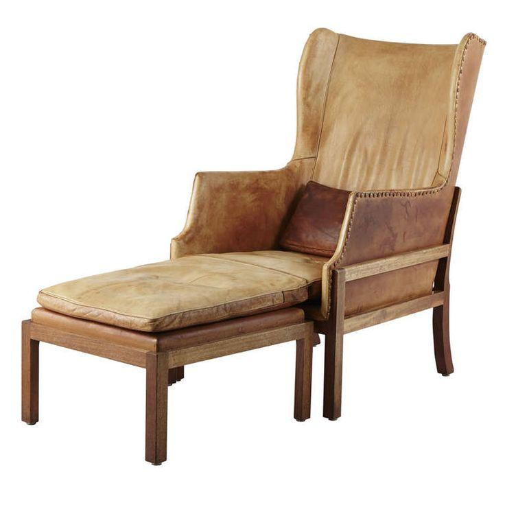 Antique Mogens Koch Wingback Leather Chair W/ottoman.