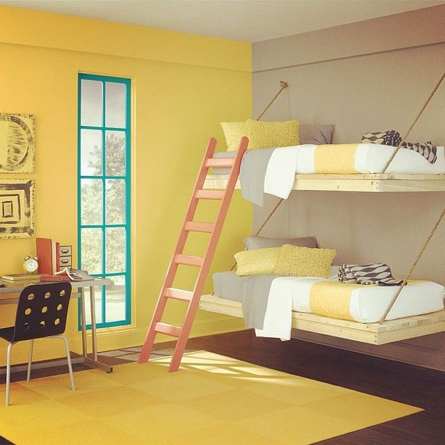 Paint Colors For Bedroom Cool Ideas For Bedrooms For Girls Ceiling Design For Bedroom With Fan Quilted Headboard Bedroom Sets: Say Hello To Yellow In Your Kids' Bedroom Décor.