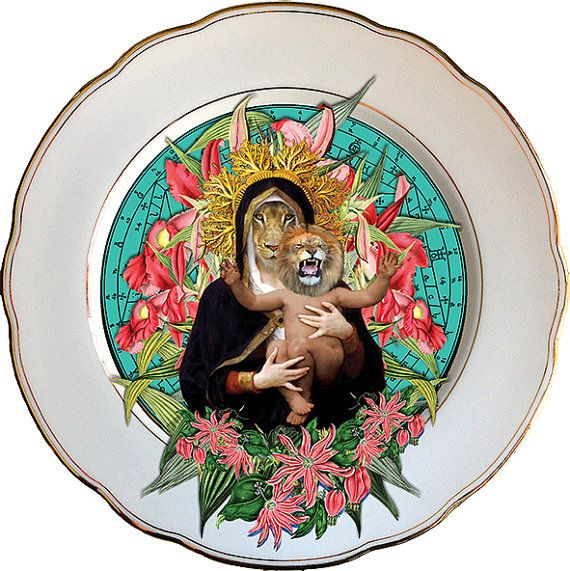Lioness Queen  - Altered Antique Porcelain Plate