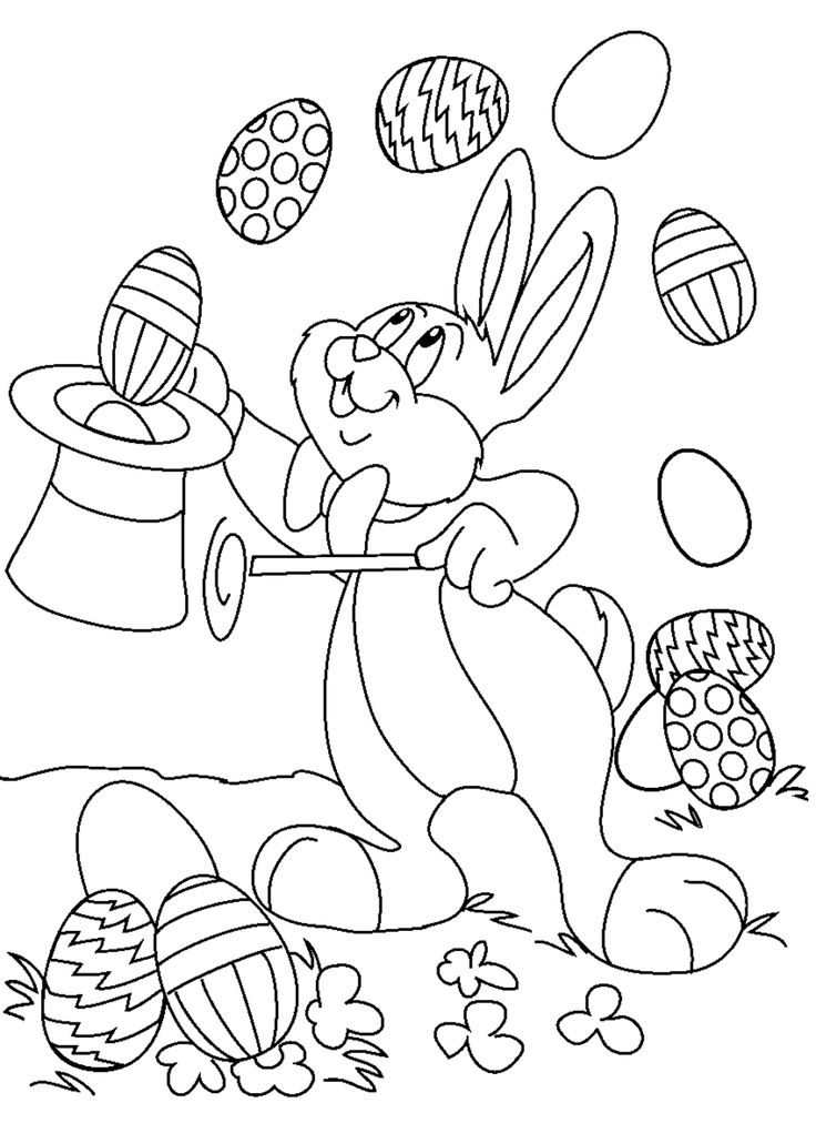 Bunny Easter Egg Magic Show Coloring Pages Rabbit Free Online And