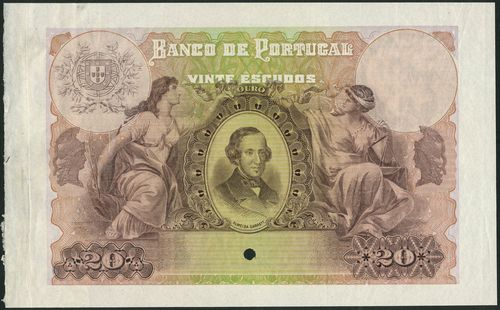 (†) Banco de Portugal, specimen proof 20 Escudos, ND (ca 1915), no serial numbers, no signature, brown-lilac and sage green, portrait of Almeida Garrett at centre, supported by two maidens representing literature and justice, reverse blue on green and yellow underprint, coat of arms at centre, value in ornate guilloches at left and right, one punch hole