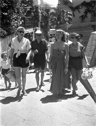 Rita Hayworth. 1951. Sandals in Capri.Vintage Capri, Rita Hayworth, 1951 Capri, Capri Sandals