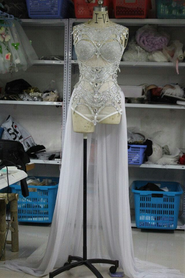 silver perspective sequins one piece paillette bodysuit costumes Queen female singer jazz dance stage wear show sexy costume