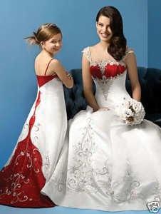 crimson and white wedding dresses