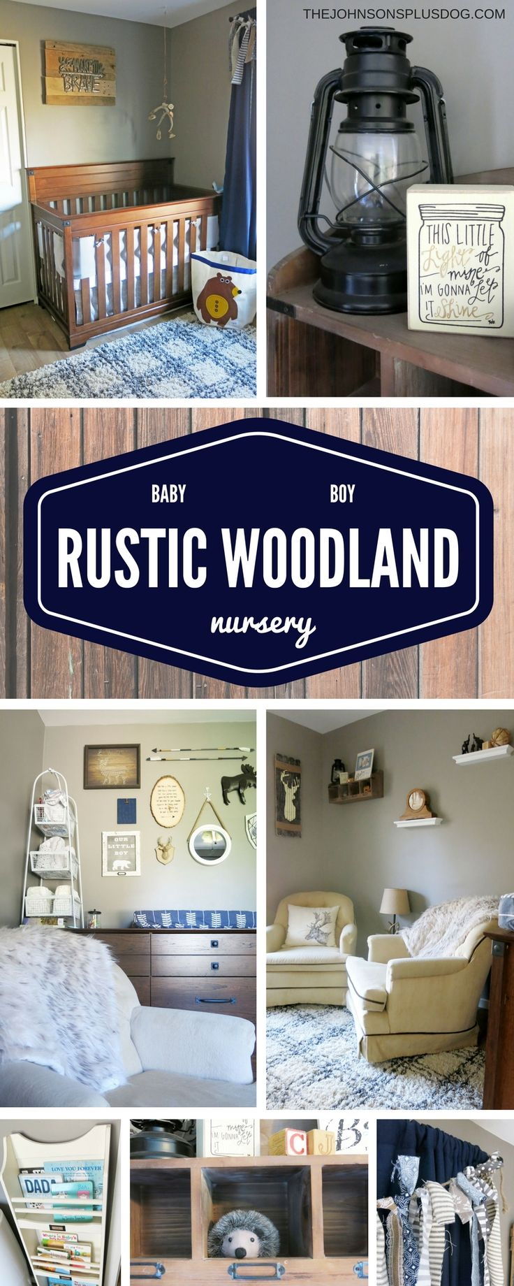 Baby Boy Nursery | Rustic Woodland Navy and Tan Baby Room | Baby Boy Rustic Woodland Nursery Inspiration | The Johnsons Plus Dog