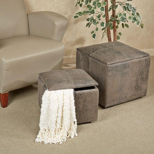 Nexus Dark Gray Storage Ottoman Set Fabric Ottoman Ottoman
