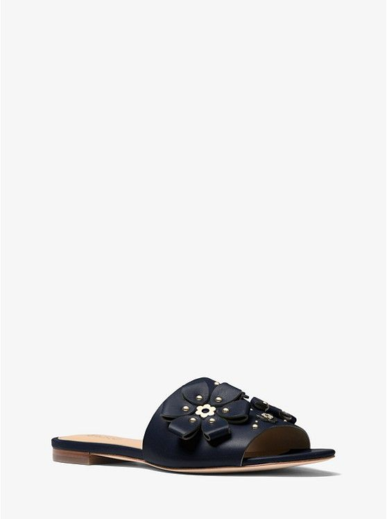 23413913858 MICHAEL KORS Tara Floral Embellished Leather Slide