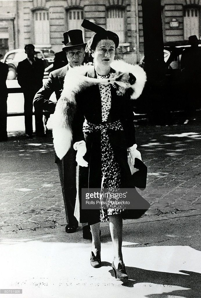 May 1939, The Duke and Duchess of Windsor, pictured in Paris, France, arriving for the Memorial Day service at the American Cathedral in Avenue St, George V, The Duke of Windsor (1894-1972) became King Edward VIII for a short while in 1936 but abdicated due to his romance with Mrs, Wallis Simpson