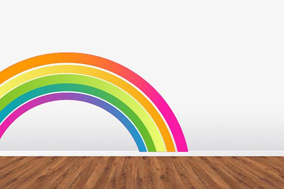 Rainbow Wall Decal  Removable Reusable Repositionable FABRIC WallSkin. Srsly Cool. on Etsy, $40.00