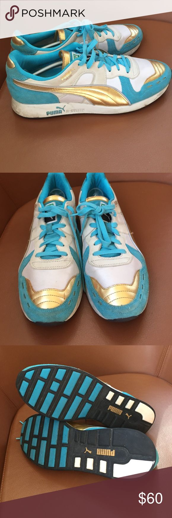 RARE Puma Sneakers men's Sz 12 CLASSIC puma. Rare gold and turquoise color! Has some discoloration on white soles from wear, but other than that, good condition! Puma Shoes Athletic Shoes